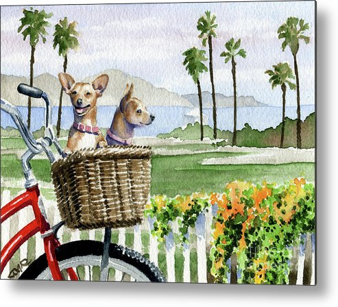 Chihuhuas Metal Print featuring the painting Chihuahuas In A Bike Basket by David Rogers