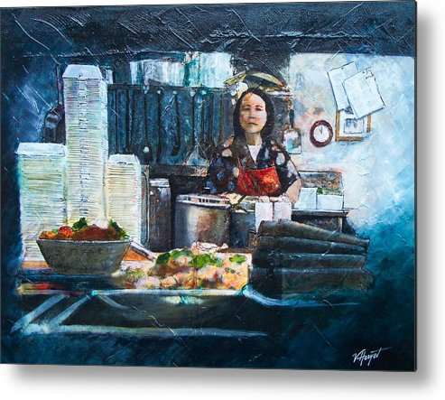 Chinese Metal Print featuring the painting China Kitchen by Victoria Heryet