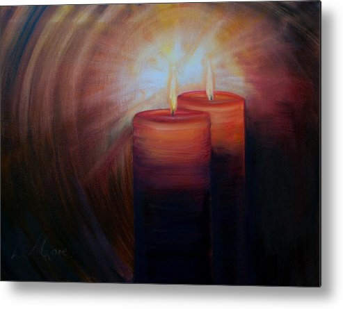 Christmas Candles Metal Print featuring the painting Christmas Candles by Laurel Moore
