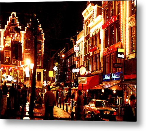 Night Metal Print featuring the photograph Christmas In Amsterdam by Nancy Mueller
