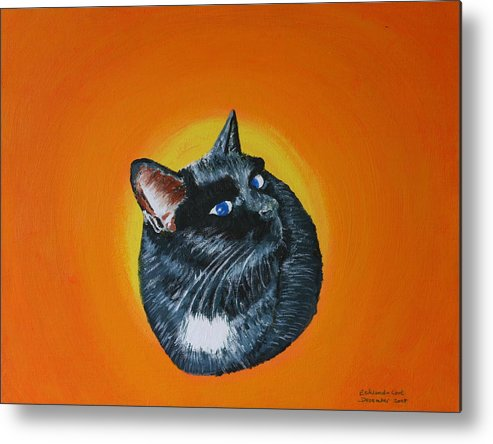 Cat Animal Pet Acrylic Cute Metal Print featuring the painting Ciara by Eckland Cort