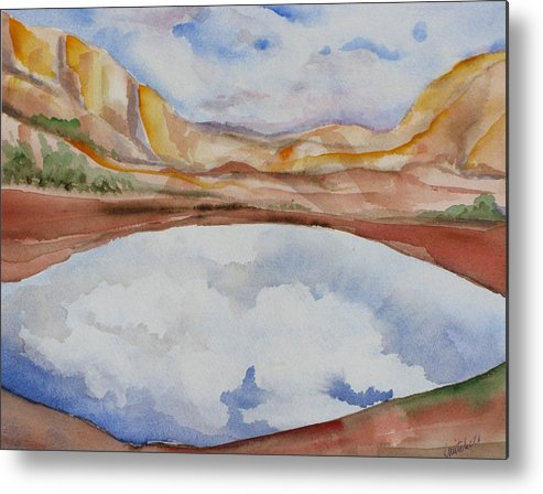Landscape Metal Print featuring the painting Cloudy Reflections by Kathy Mitchell