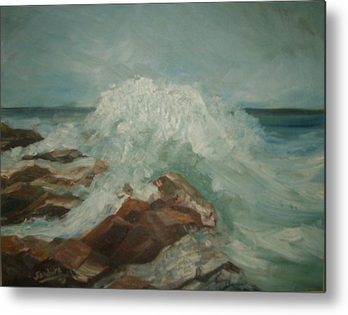 Ocean Surf Rocks Seascape Metal Print featuring the painting Coastal Waters by Joseph Sandora Jr