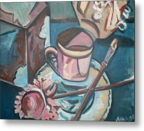 Coffee Cup Metal Print featuring the painting Coffee Cup With Brush by Aleksandra Buha