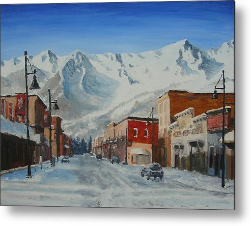 Cityscape Metal Print featuring the painting Cold Montain by Janos Szatmari