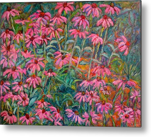 Kendall Kessler Metal Print featuring the painting Coneflowers by Kendall Kessler