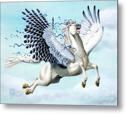Artwork Metal Print featuring the painting Cory Pegasus by Melissa A Benson