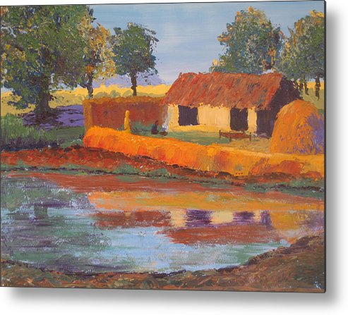 Cottage Metal Print featuring the painting Cottage By The Pond by Art Nomad Sandra Hansen