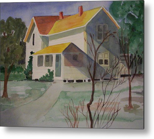 Country Home Rural Landscape Metal Print featuring the painting Country Home by Audrey Bunchkowski