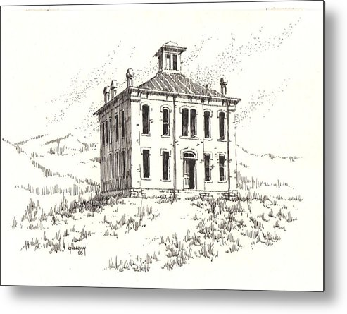 Ghost Town Metal Print featuring the drawing Courthouse Belmont Ghost Town Nevada by Kevin Heaney