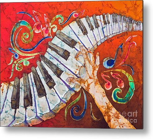 Piano Metal Print featuring the tapestry - textile Crazy Fingers - Piano Keyboard by Sue Duda