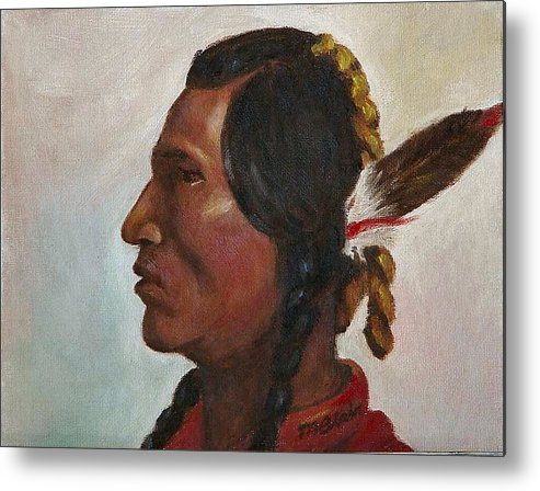 Native American Metal Print featuring the painting Crow Warrior by Merle Blair