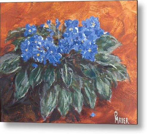 Violets Metal Print featuring the painting D Violets by Pete Maier