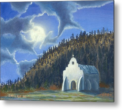 Landscape Metal Print featuring the painting Dancing In The Moonlight by Jerry McElroy