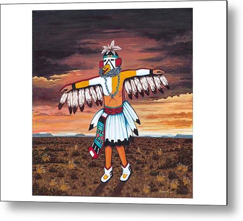 Kachina Metal Print featuring the painting Dancing Kachina by James RODERICK