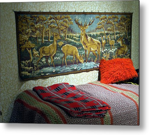 Bed Metal Print featuring the photograph Deer Room by Jarmo Honkanen