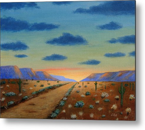 Old Metal Print featuring the painting Desert Highway by Gordon Beck