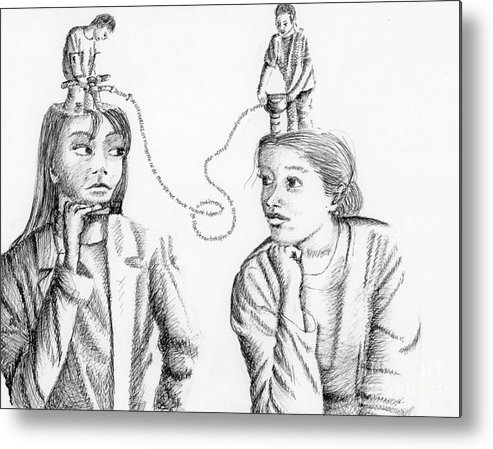 Philosophical Thoughts Metal Print featuring the drawing Dialogue by Tanni Koens