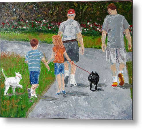 Figure Metal Print featuring the painting Dog Walkers by Libby Cagle