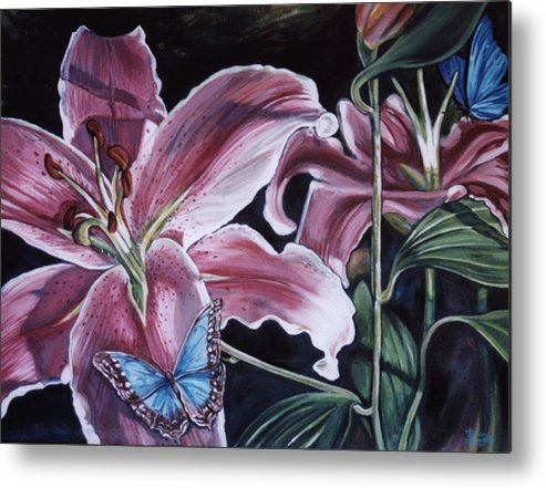 Floral Metal Print featuring the painting Donna's Flowers by Diann Baggett