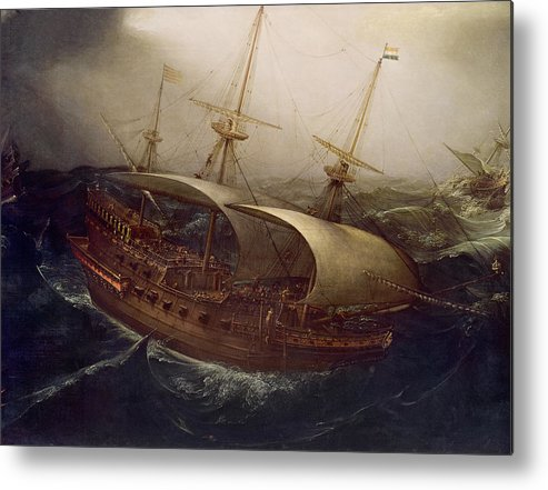 Dutch Metal Print featuring the painting Dutch Battleship In A Storm by Hendrick Cornelisz Vroom