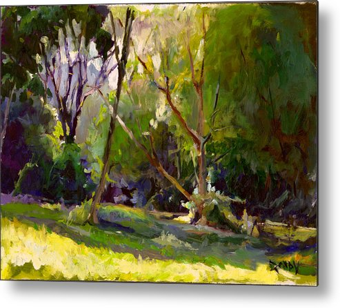 Landscape Metal Print featuring the painting Early Summer Morning by Stuart Roddy