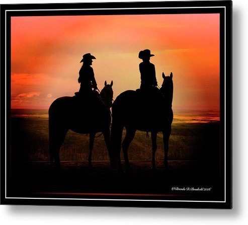 Silhouette Of Cowgirls On Their Horses. Metal Print featuring the photograph Days End by Brenda D Busskohl