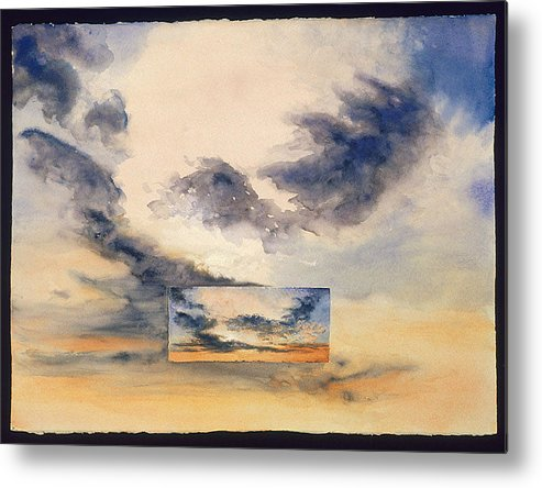Sunset Metal Print featuring the painting Evanston Sunset by Nancy Ethiel