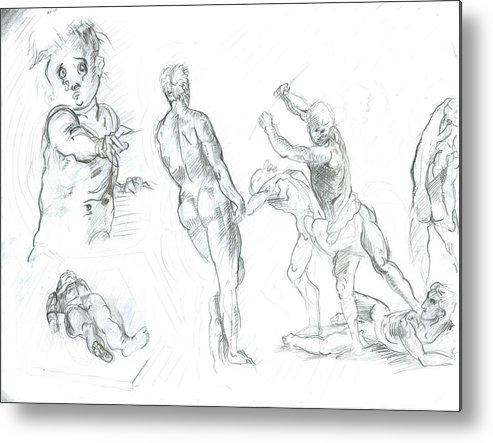 Metal Print featuring the drawing Exercise by Joseph Arico