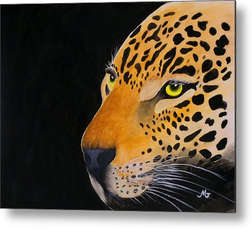 Leopard Metal Print featuring the print Eyes Of Prey by Mary Gaines
