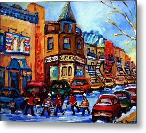 Hockey Metal Print featuring the painting Fairmount Bagel With Hockey Game by Carole Spandau
