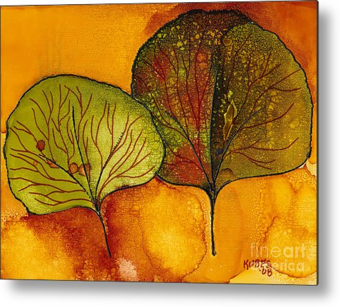 Leaf Metal Print featuring the painting Fall Leaves by Susan Kubes