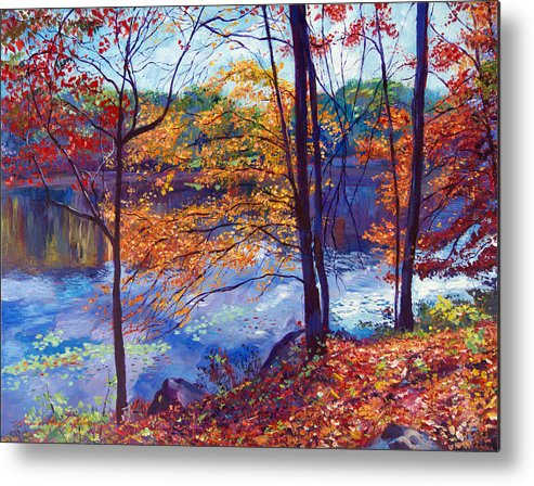 Landscape Metal Print featuring the painting Falling Leaves by David Lloyd Glover