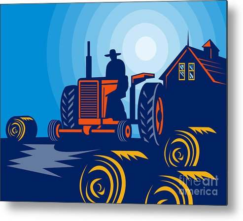 Tractor Metal Print featuring the digital art Farmer Driving Vintage Tractor by Aloysius Patrimonio
