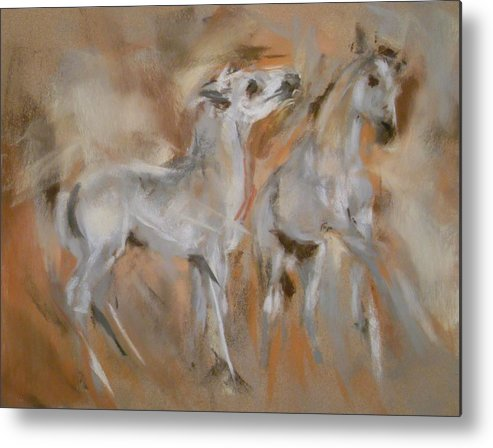 Mustang Metal Print featuring the painting Feels Good To Play by Debbie Anderson