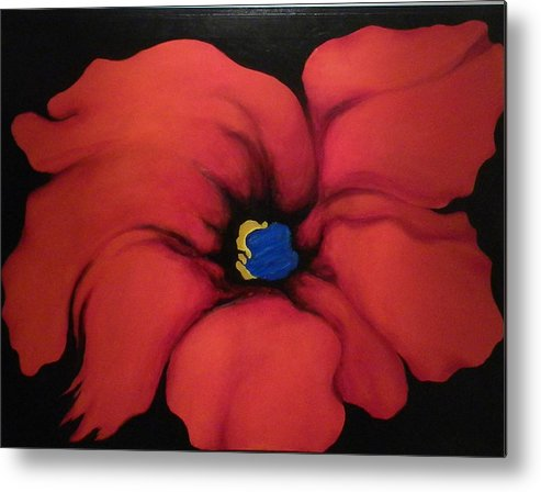 Red Bloom Artwork Metal Print featuring the painting Fire Flower by Jordana Sands