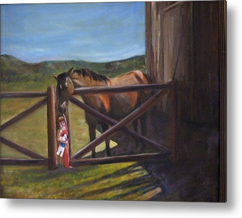 Horse Metal Print featuring the painting First Love by Darla Joy Johnson