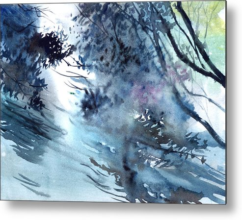 Floods Metal Print featuring the painting Flooding by Anil Nene