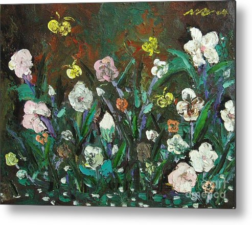Abstract Paintings Metal Print featuring the painting Flower Garden by Seon-Jeong Kim