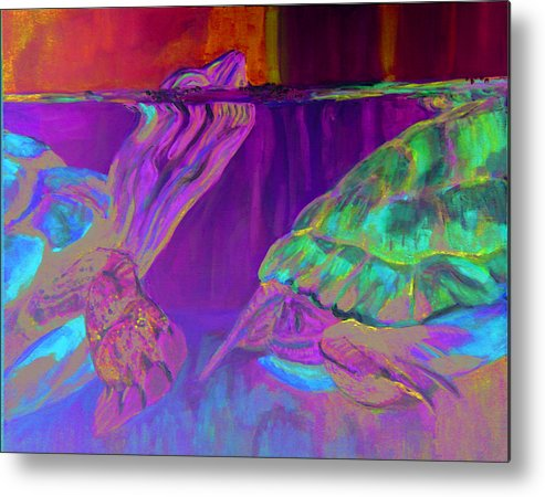 Turtles Metal Print featuring the painting Following by Gail Wartell