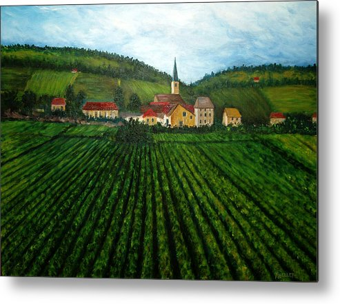 Acrylic Metal Print featuring the painting French Village In The Vineyards by Nancy Mueller
