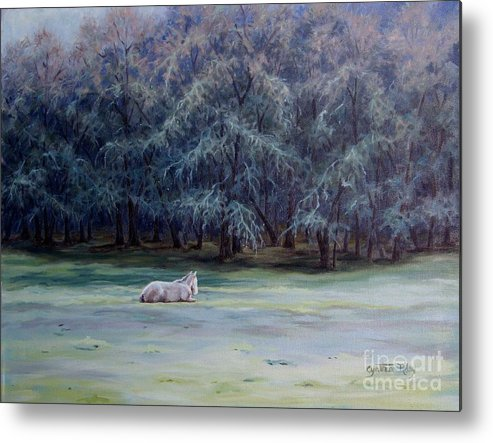 Horse Oil Painting Metal Print featuring the painting Frosty Morning by Cynthia Riley