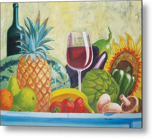 Pineapple Metal Print featuring the painting Fruits And Vegetables by D T LaVercombe