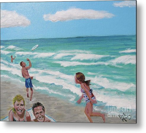 Beach Metal Print featuring the painting Fun At The Beach by Deborah Macy