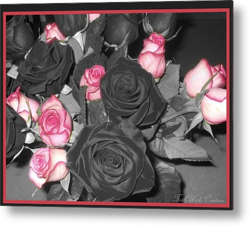 Floral Metal Print featuring the photograph Fwc Anniversary Roses by Faith Works Creations