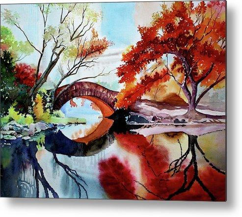 Gapstow Metal Print featuring the painting Gapstow Bridge II by Jelly Starnes