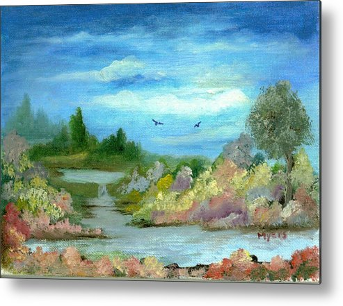 Sky Metal Print featuring the painting Garden By A Stream by Rhonda Myers