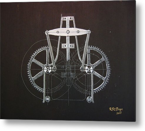 Gears Metal Print featuring the painting Gears No2 by Richard Le Page