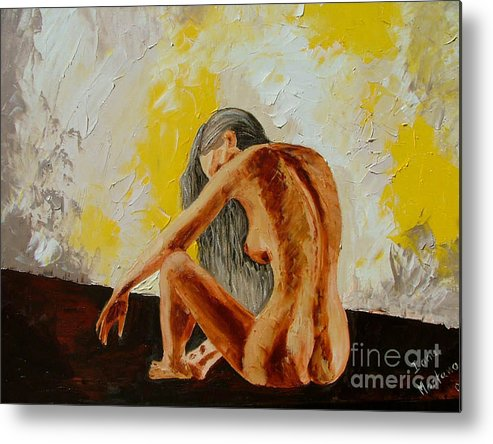 Girl Metal Print featuring the painting Girl Nude 1 by Inna Montano