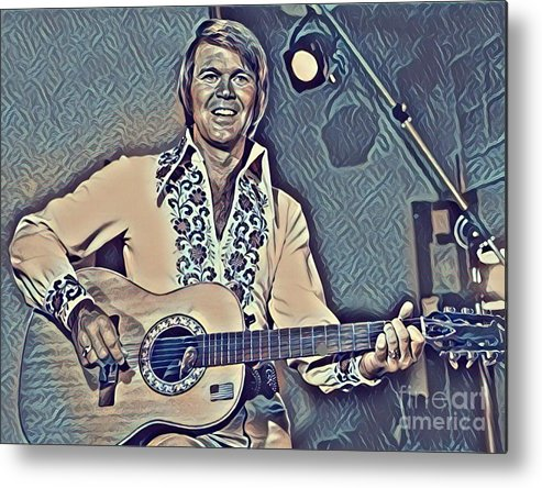 Glen Campbell Abstract Metal Print featuring the painting Glen Campbell Abstract by Pd